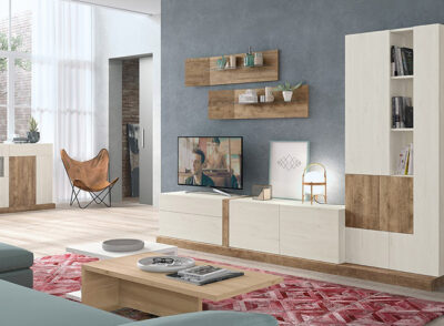 Conjunto de muebles de salón con módulos con puertas y vitrina sin cristal de madera oscura (resto del mobiliario aparte)