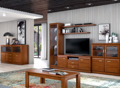Conjunto de muebles de salón con vitrina con puerta de cristal y modulo bajo con 4 puertas de madera