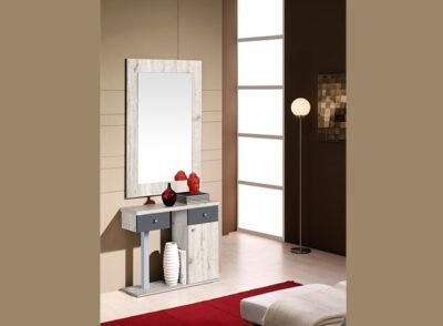 Consola recibidor de color cambrian con 2 cajones y una puerta con espejo