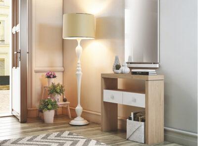 Consola recibidor rectangular en madera roble con 2 cajones y espejo perpendicular
