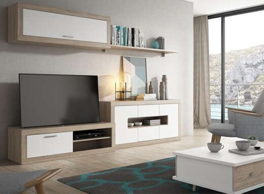 decoracion-salon-modulo-bajo-estanteria-aparador-y-vitrina-colgada