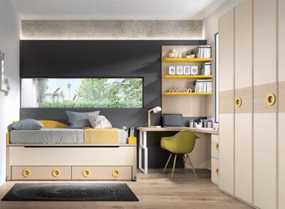 Dormitorio juvenil con cama compacta y zona de estudio