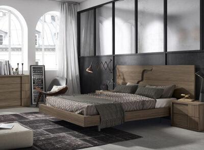 Dormitorio matrimonio de diseño con cama flotante y detalle vertical en cabecero