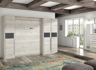 Dormitorio matrimonio con cama abatible vertical con 3 armarios laterales