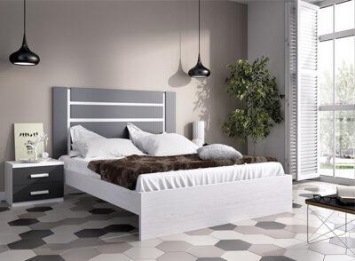 Dormitorio de matrimonio blanco y negro con cabecero rectangular con mesitas de 2 cajones + bañera