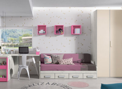 Dormitorio juvenil para cama de 120 con zona de estudio y colchón incluido