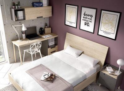 Dormitorio juvenil con cabecero y bañera para cama de 135 cm con mesita