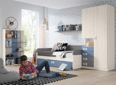 Dormitorio juvenil con cama nido + armario con cajones y estantería