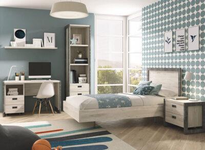 Dormitorio juvenil completo con cama de 90cm con bañera y mesita con 2 cajones