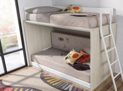 Dormitorio juvenil con litera abatible horizontal en cama 120cm