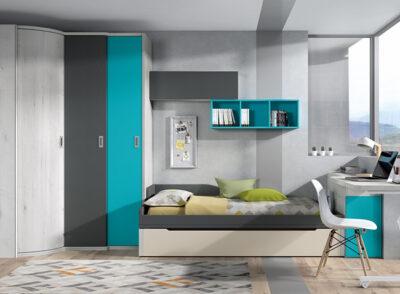 Dormitorio juvenil con cama nido con módulo alto y zona de estudio giratorio