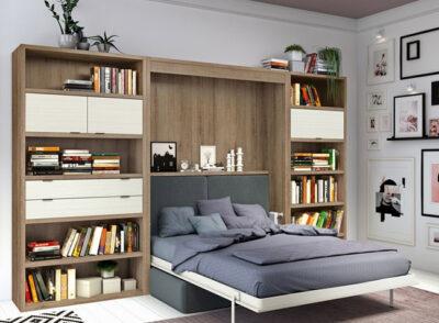 Cama abatible vertical con estanterías laterales (sofá cama opcional)