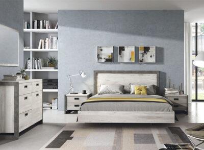 Dormitorio matrimonio blanco de estilo moderno con bañera y cabecero + mesitas de 2 cajones