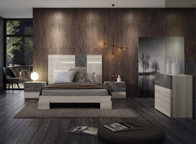 Dormitorio matrimonio con cabecero con luces led asimétrico y mesitas con detalles en mármol