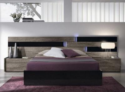 Dormitorio matrimonio con luces led y cabecero con detalles en negro