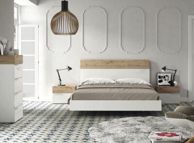 Dormitorio matrimonio en madera y blanco con cama flotante y bañera