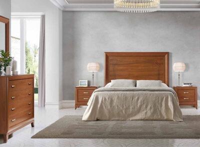Dormitorio matrimonio de madera con diseño clásico y cabecero rectangular