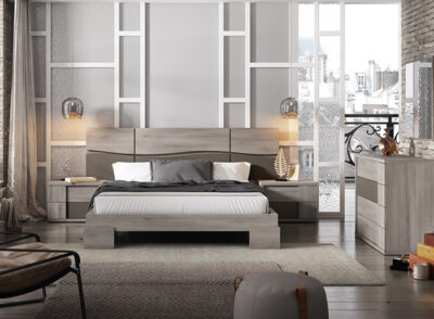 Dormitorio matrimonio moderno con bancada de patas anchas (opcional)