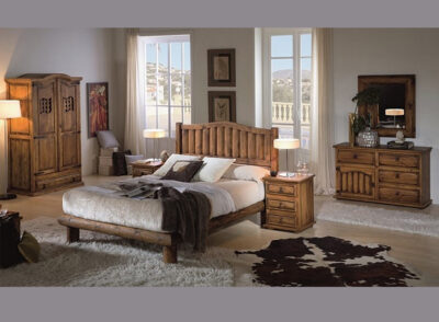 Dormitorio de matrimonio rústico con cabecero de troncos verticales y 2 mesitas de madera