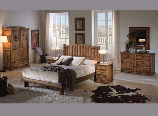 dormitorio-matrimonio-rustico-con-cabecero-tronco-mesitas-madera