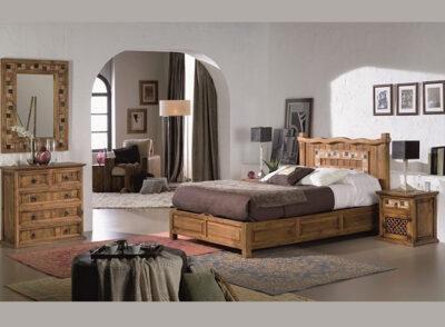 Dormitorio matrimonio rústico de madera con detalles en mármol de colores