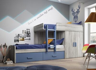 Dormitorio juvenil con cama tren con diseño vintage y azul + armario con 2 puertas