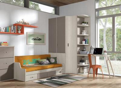 Dormitorio juvenil con armario de rincón y cama abatible + zona de estudio