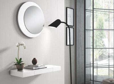 Estantería recibidor en color blanco con cajón pequeño y espejo redondo