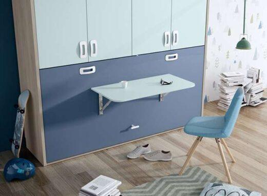habitacion-juvenil-cama-abatible-horizontal-con-mesa-tonos-azules