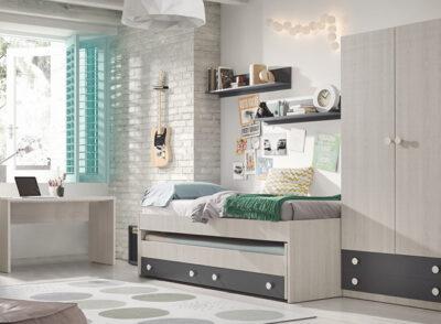 Habitación juvenil con cama nido en madera fresno con armario