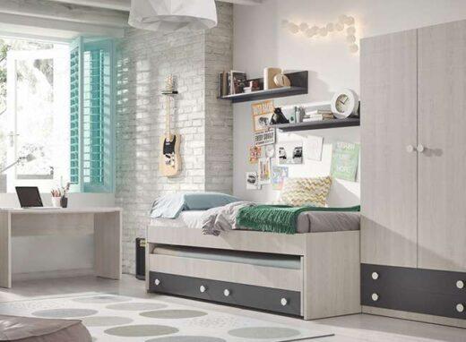 habitacion-juvenil-cama-nido-madera-fresno-con-armario