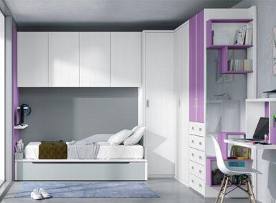 Habitación juvenil puente con cama nido, contenedor integrado y zona de estudio