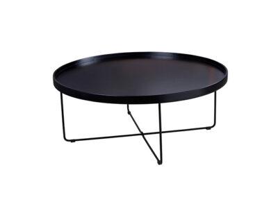 Mesa de centro con patas metálicas con forma redonda en negro