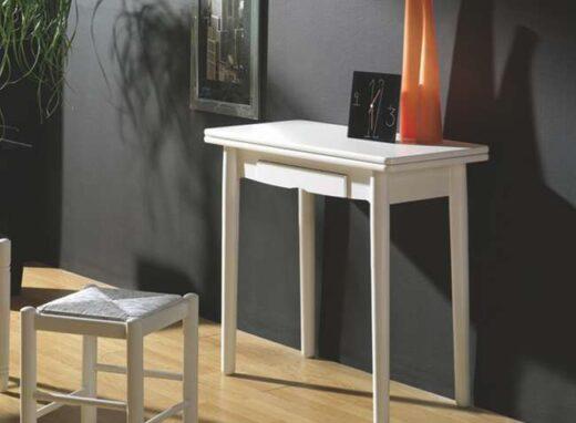 Mesa de cocina blanca tipo libro rectangular con cajón