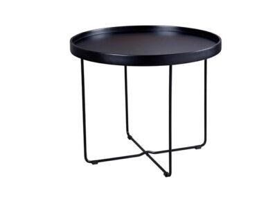 Mesa de centro alta negra con patas metalicas