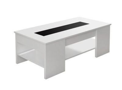 Mesa de centro color blanco con patas anchas y elevable