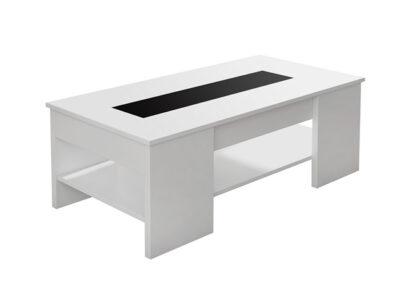 Mesa de centro color blanco con patas anchas y elevable