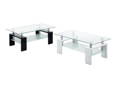 Mesa de centro de diseño de cristal en blanco o negro