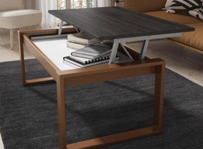 Mesa de centro de madera elevable con tapa de madera oscura