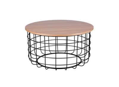 Mesa de centro de madera redonda con estructura barilla metálica estilo industrial