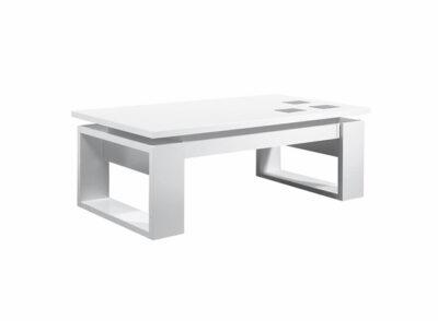 Mesa de centro elevable moderna en blanco con patas anchas