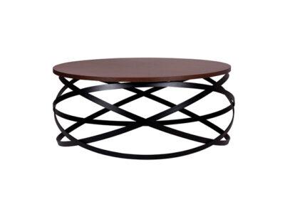 Mesa de centro redonda de madera con base de anillos estilo industrial