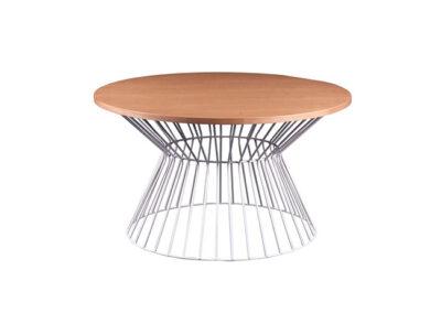 Mesa de centro con tapa redonda de madera con base metálica de rejilla estilo nórdico
