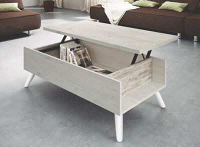 Mesa de centro elevable en blanco roto vintage