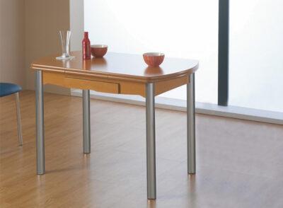 Mesa libro de cocina con patas cromadas y un cajón en color cerezo