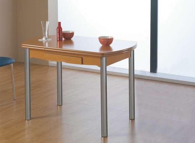Mesa libro cocina con patas cromadas + cajón y color cerezo
