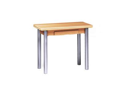 Mesa de cocina tipo libro con forma ovalada y patas cromadas