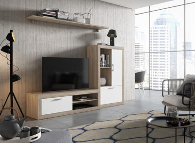 Modulo de salón de estilo moderno con estantería colgada en color cambrian