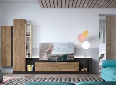 Mueble bajo de salón para TV con puerta abatible y vitrina colgada