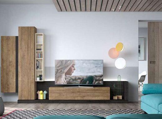 mueble-bajo-salon-para-tv-con-puerta-abatible-y-vitrina-colgada